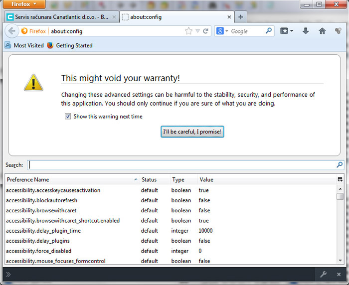 Firefox 27 - about:config