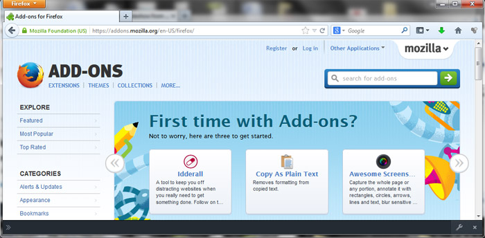 Firefox 27 add-ons