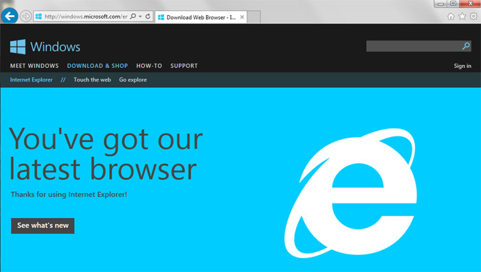 Internet Explorer 11 interfejs
