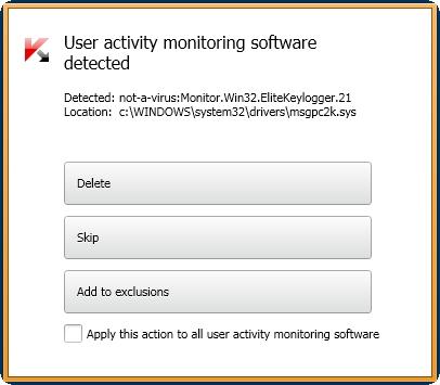 Kaspersky Anti-Virus 2014 detektovan keylogger