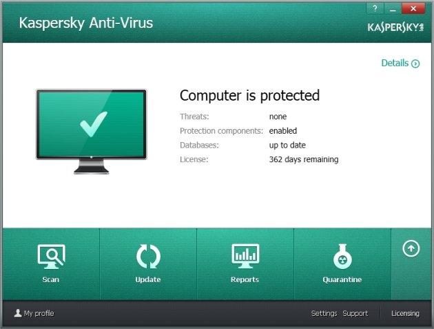 Kaspersky Anti-Virus 2014 glavni prozor
