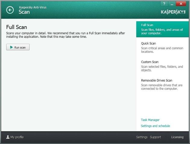 Kaspersky Anti-Virus 2014 opcije skeniranja