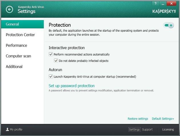 Kaspersky Anti-Virus 2014 opšta podešavanja