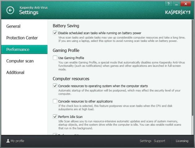 Kaspersky Anti-Virus 2014 podešavanje performansi