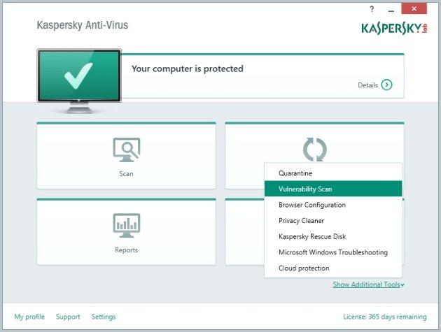 Kaspersky AntiVirus 2015 dodatni alati