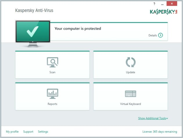 Kaspersky AntiVirus 2015 glavni prozor