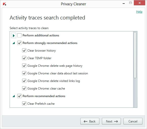 Kaspersky AntiVirus 2015 privacy cleaner