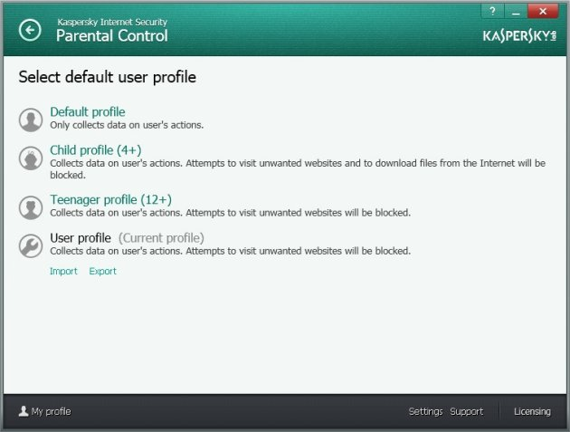 Kaspersky Internet Security 2014 roditeljski profil