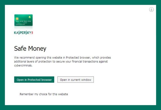 Kaspersky Internet Security 2014 safe money