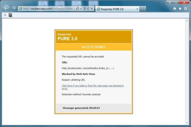 Kaspersky Pure 3.0 pronalaženje phishing-a
