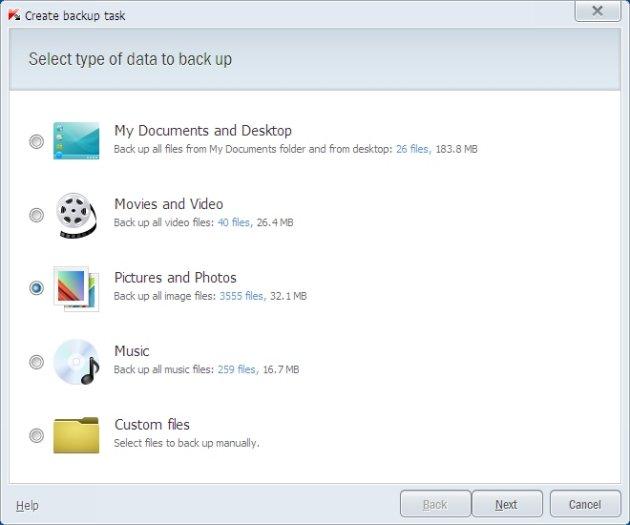 Kaspersky Pure 3.0 kreiranje zadatih backup-a
