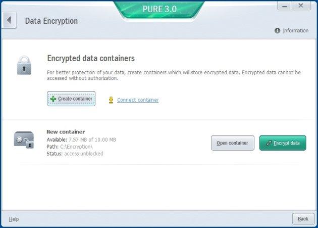 Kaspersky Pure 3.0 enkriptovani kontejneri