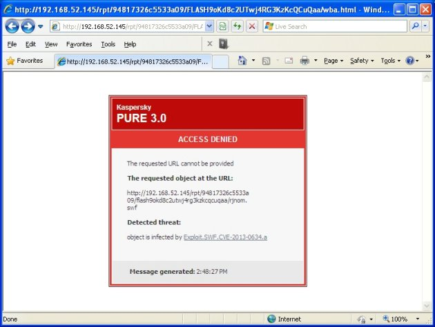 Kaspersky Pure 3.0 blokiran exploit