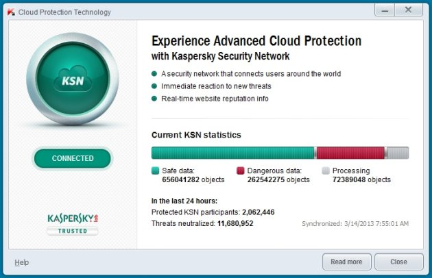 Kaspersky Pure 3.0 Security network