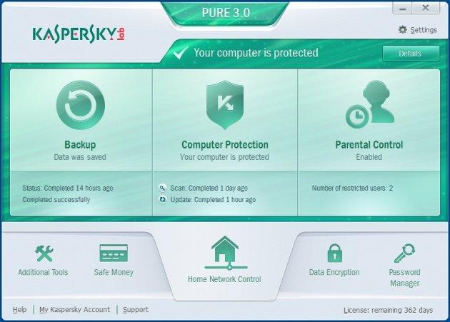 Kaspersky Pure 3.0 glavni prozor