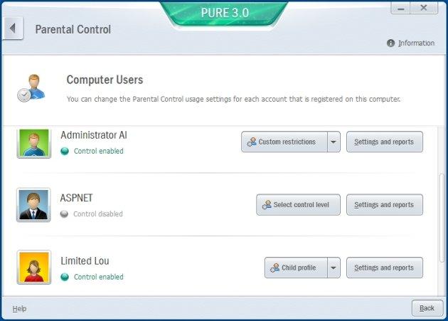 Kaspersky Pure 3.0 roditeljska kontrola