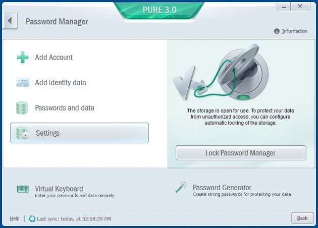 Kaspersky Pure 3.0 password manager