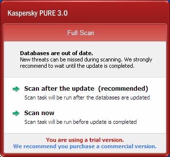 Kaspersky Pure 3.0 skeniranje posle ažuriranja