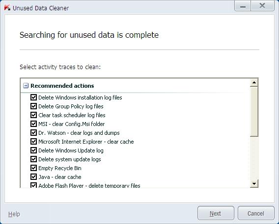 Kaspersky Pure 3.0 čistač nekorišćenih podataka
