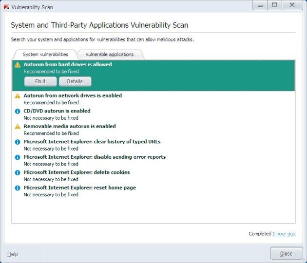 Kaspersky Pure 3.0 skeniranje na ranjivost sistema