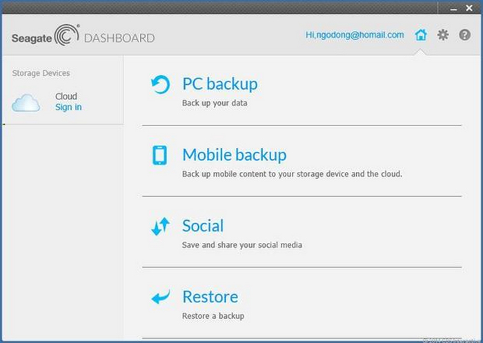 Seagate Backup Plus Slim - dashboard