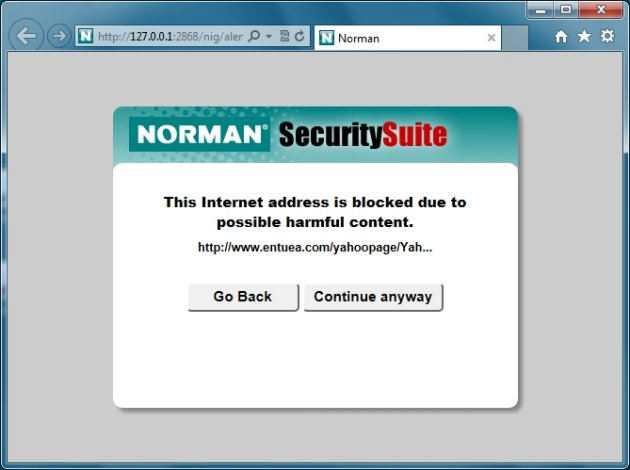 Norman Security Suite 10 Pro blokirani phishing sajtovi
