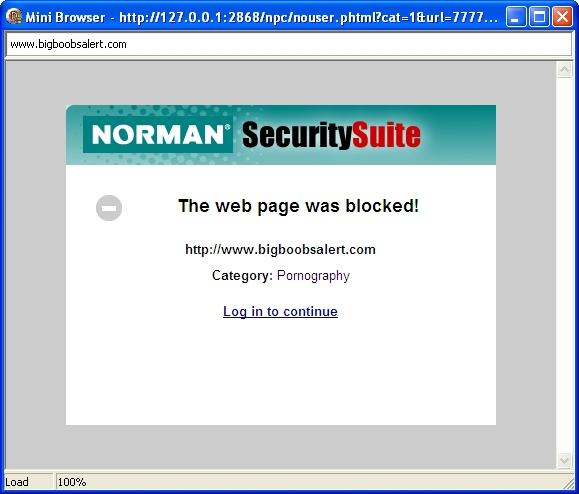 Norman Security Suite 10 Pro blokirani web sajtovi