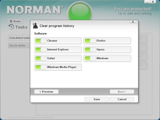 Norman Security Suite 10 Pro brisanje istorije pregledanja