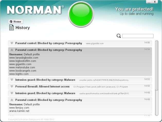 Norman Security Suite 10 Pro lista blokiranih sajtova