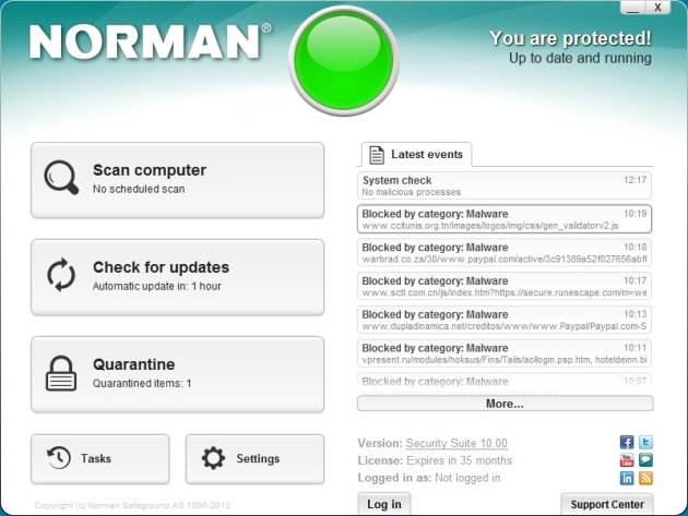 Norman Security Suite 10 Pro glavni prozor