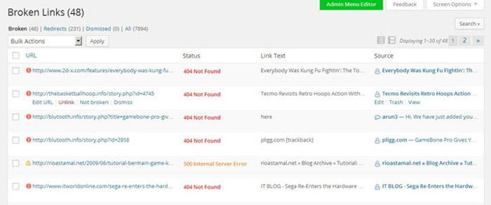 WordPress plugin broken link