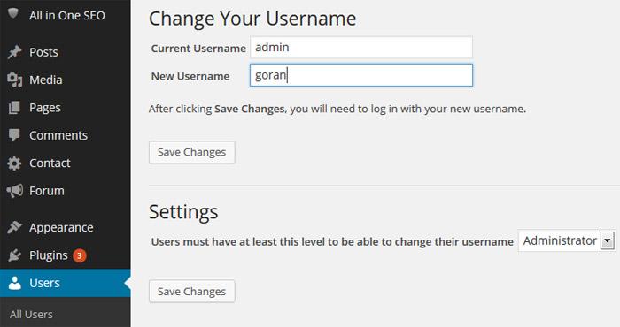 WordPress Plugin promeni korisničko ime