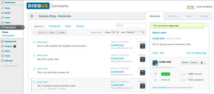 WordPress Plugin Disqus comment system