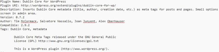 WordPress Plugin Dublin Core