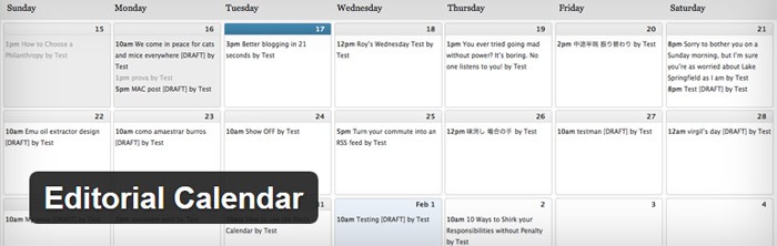 WordPress plugin editorial calendar