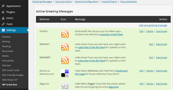 WordPress Plugin Greet Box